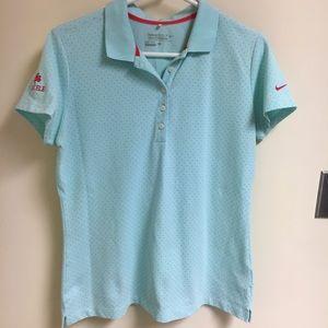Nike Golf baby blue w pink polka dots DRI FIT